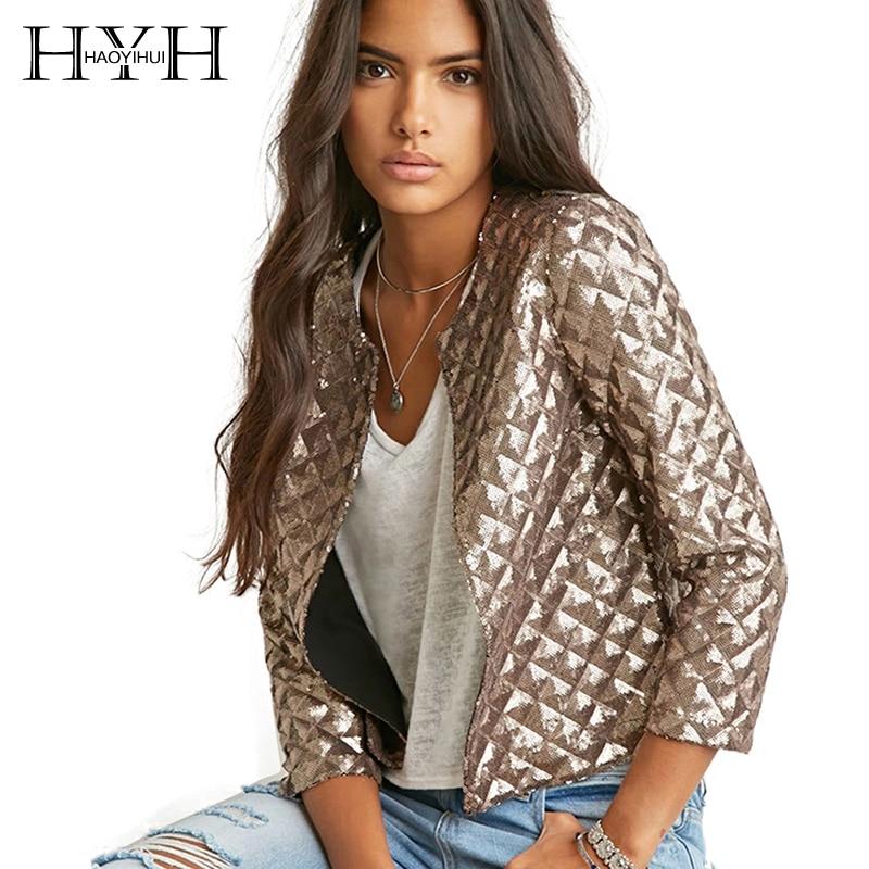 HYH HAOYIHUI Solid Gold Women Chic   Jacket   Vogue Lozenge Three Quater sleeve Sequins Outwear Streetwear Casual   Basic   Coat
