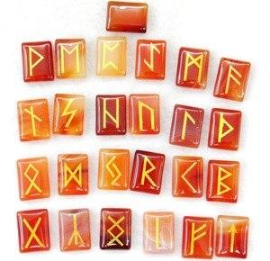 Image 1 - Tự nhiên Aventurine Pha Lê Onyx Đá Mắt Hổ Viking Chữ Rune Bùa Hộ Mệnh Bộ Reiki Chữa Bệnh Tinh Thể Bói Toán Búi Tó Đá 25 PC