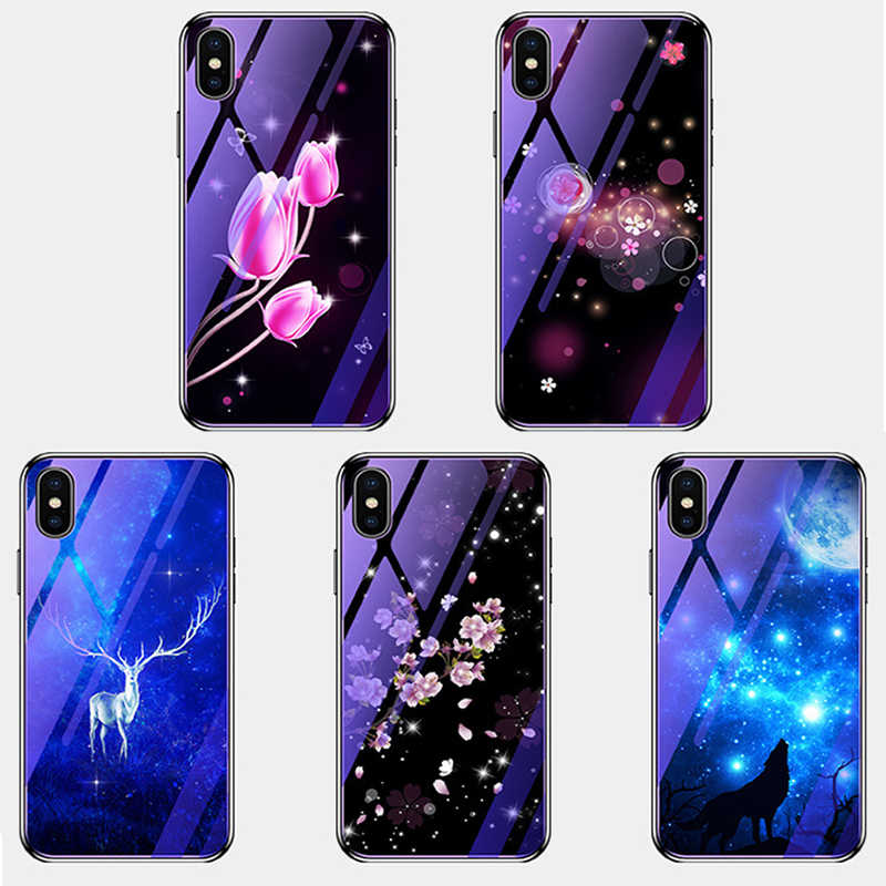 For Huawei P20 PRO Nova 2s 3i 3E 4 Case Plating Painted Glass Cover on for Honor 7C 7A 8X 9i 10 PLAY 9LITE V8 V9 V10 case fundas