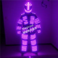 Colorful led luminous robot suit with helmet and gloves party stage show dj singer performance clothes