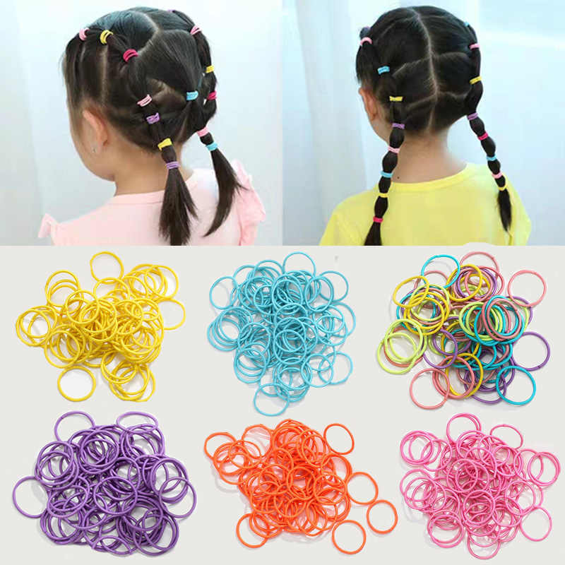 M MISM 60PCS/Lot Colorful Nylon 3CM Scrunchies Rubber Bands Elastic Hair Bands Ponytail Holder Kids Hair Accessories Hair Ties