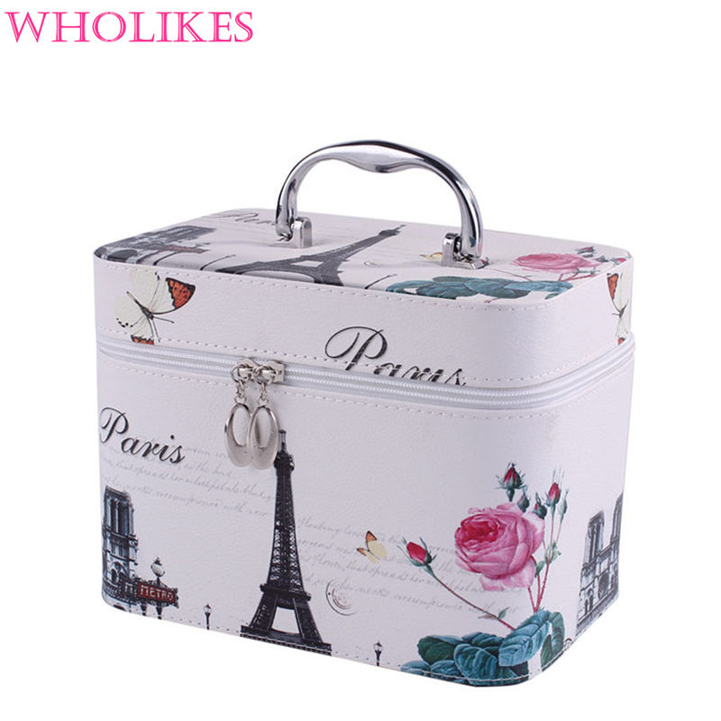 2016 New Fashion Brand PU Leather Cartoon Women Cosmetic Bag Beautician Professional Cosmetic Storage Organizer Cosmetics