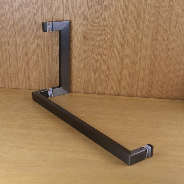 Special offer black L shaped long sleeved bathroom glass door handle ...