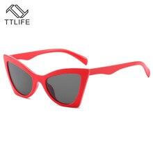 TTLIFE 2019 New Cat Eye Women Sunglasses Vintage Shaped Sun Glasses Female  Blue Brand Designer Color Lens