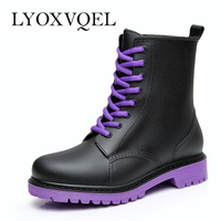 Fashion 2016 Women Rain Boots Rubber Lace Up Women Ankle Boots Waterproof Casual Comfort Ladies Martin
