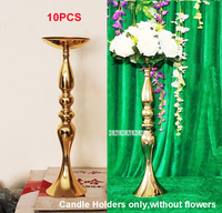 10pcs Gold Metal Candle Holders 48cm Stand Flowers Vase Candlestick Road Lead Candelabra Centre Pieces Wedding Party Decor