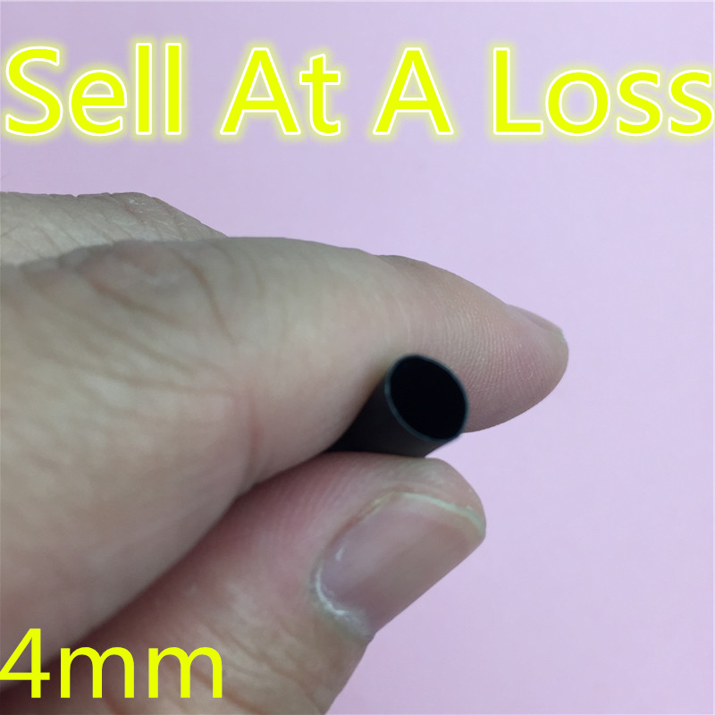 1 M/lot 2:1 Black 4mm Diameter L54  Heat Shrink Heatshrink Tubing Tube Sleeving Wrap Wire Sell At A Loss USA Ukraine Belarus