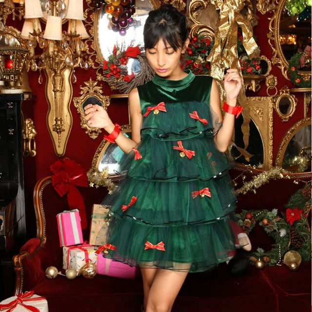 Green Christmas Tree Carnival Christmas Costumes Dress Costume Party