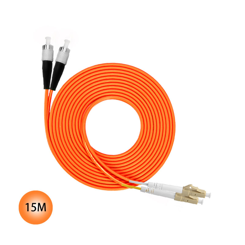 FC to LC 50/125 Multimode Duplex Plenum Fiber Patch Cable 15M Jumper Cable 50 Microns UPC Polish Orange OFNP Jacket OM2