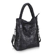 Genuine Leather Women Handbag Patchwork Natural Sheepskin Shoulder Bag Famous Brand Women Bag Casual Tote Sac