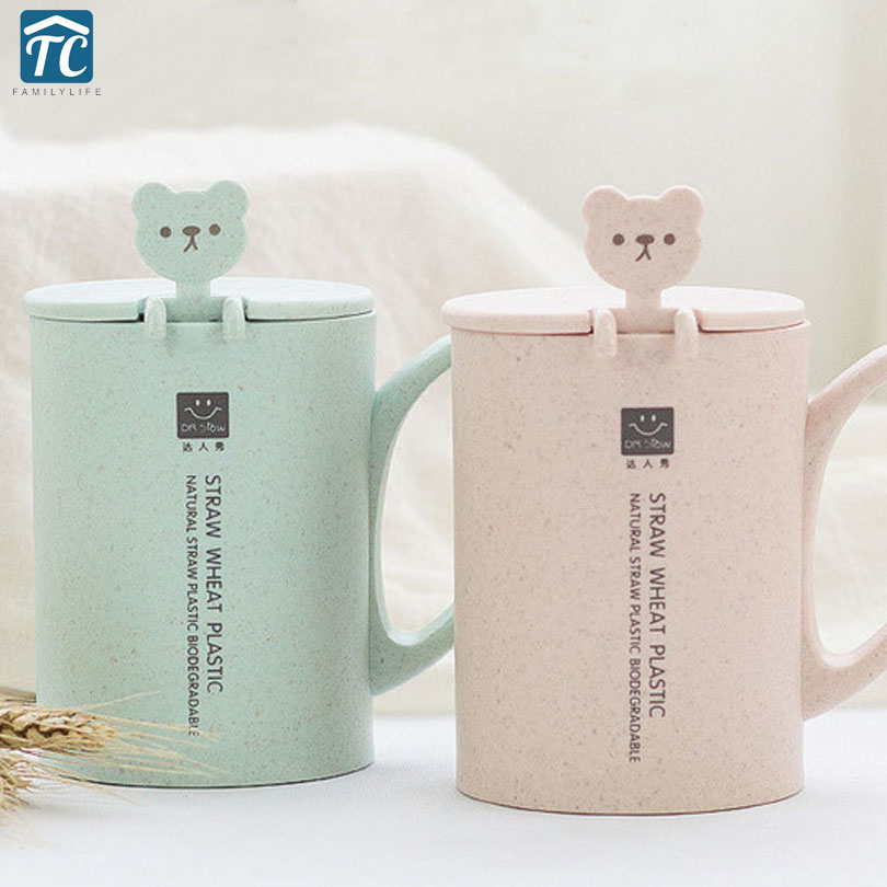 450ml Creative Cute Coffee Water Bottle Round Plastic Wheat Straw Tea Warm Hand Home Office Student With Spoon Fashion Drinkware