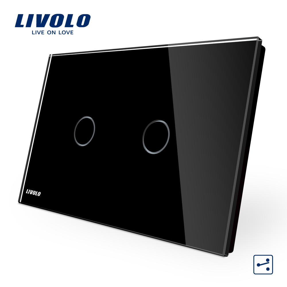 LIVOLO Wall Switch, 2gang 2way, VL-C902S-12 ,AU/US Standard Touch  Light Switch with LED indicator, Black Crystal Glass Panel free shipping us au standard wall touch switch gold crystal glass panel 1 gang 1 way led indicator light led touch screen switch