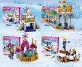 4 шт. ЛЕЛЕ 37003 Принцесса Строительные Блоки Золушка Arendelle Замок Анна Elsa Девушки Рисунок Совместимость Legoe Друзей