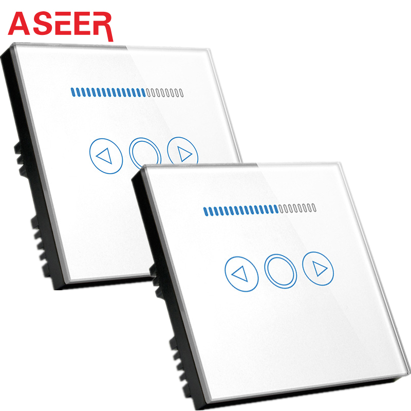 ASEER UK Standard 2 Way Double Control Dimmer Touch Light Switches blue LED indicator Glass Panel