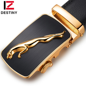 DESTINY leather belt men luxury brand design high quality automatic buckle belts silver gold fashion Strap Male for jeans cinto