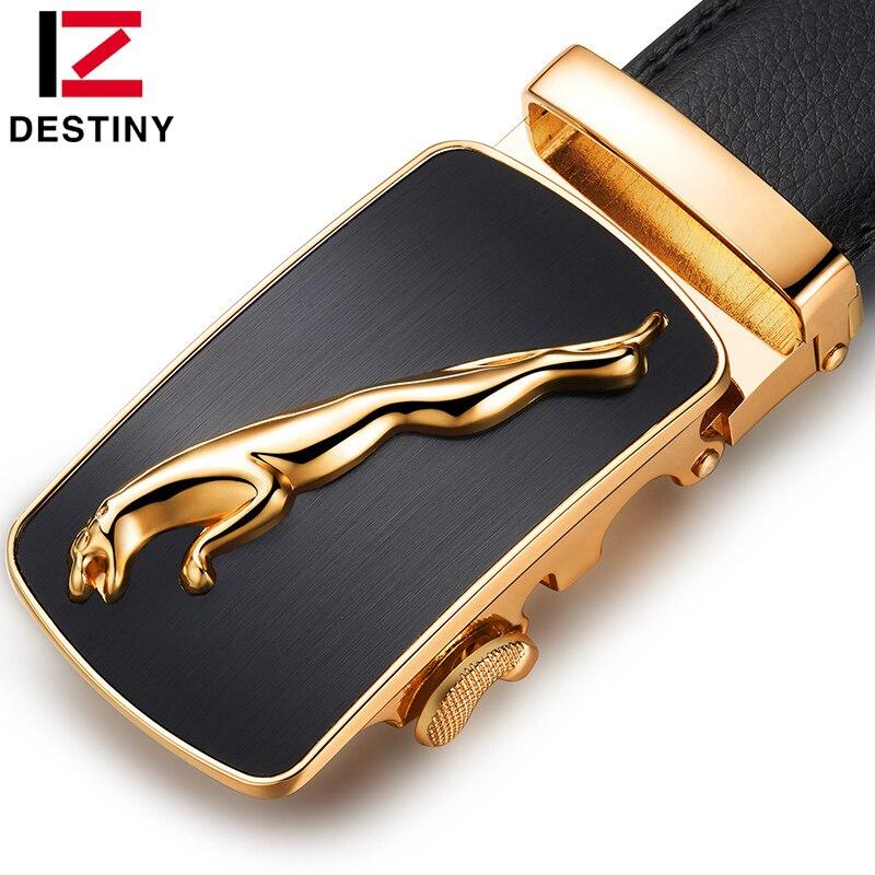 O DESTINO da correia de couro cintos de fivela automática dos homens de design da marca de luxo de alta qualidade de prata de ouro da moda cinto Cinta Masculina para calças de brim