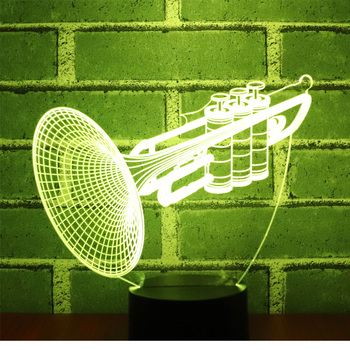 3D LED Night Light Musical Instruments instrument Trumpet Horn with 7 Colors Light for Home Decoration Lamp Amazing
