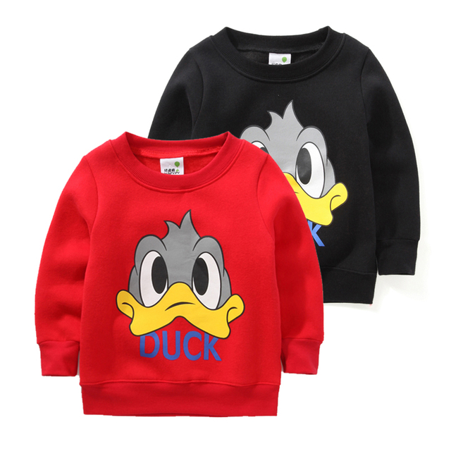 Осень и зима 2017 детская одежда мультфильм утка флис теплые детские мальчики свитер толстовка девушки минни футболка