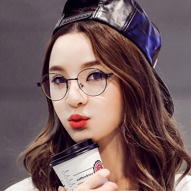 2016 korean fashion glasses frames plain mirror lens round