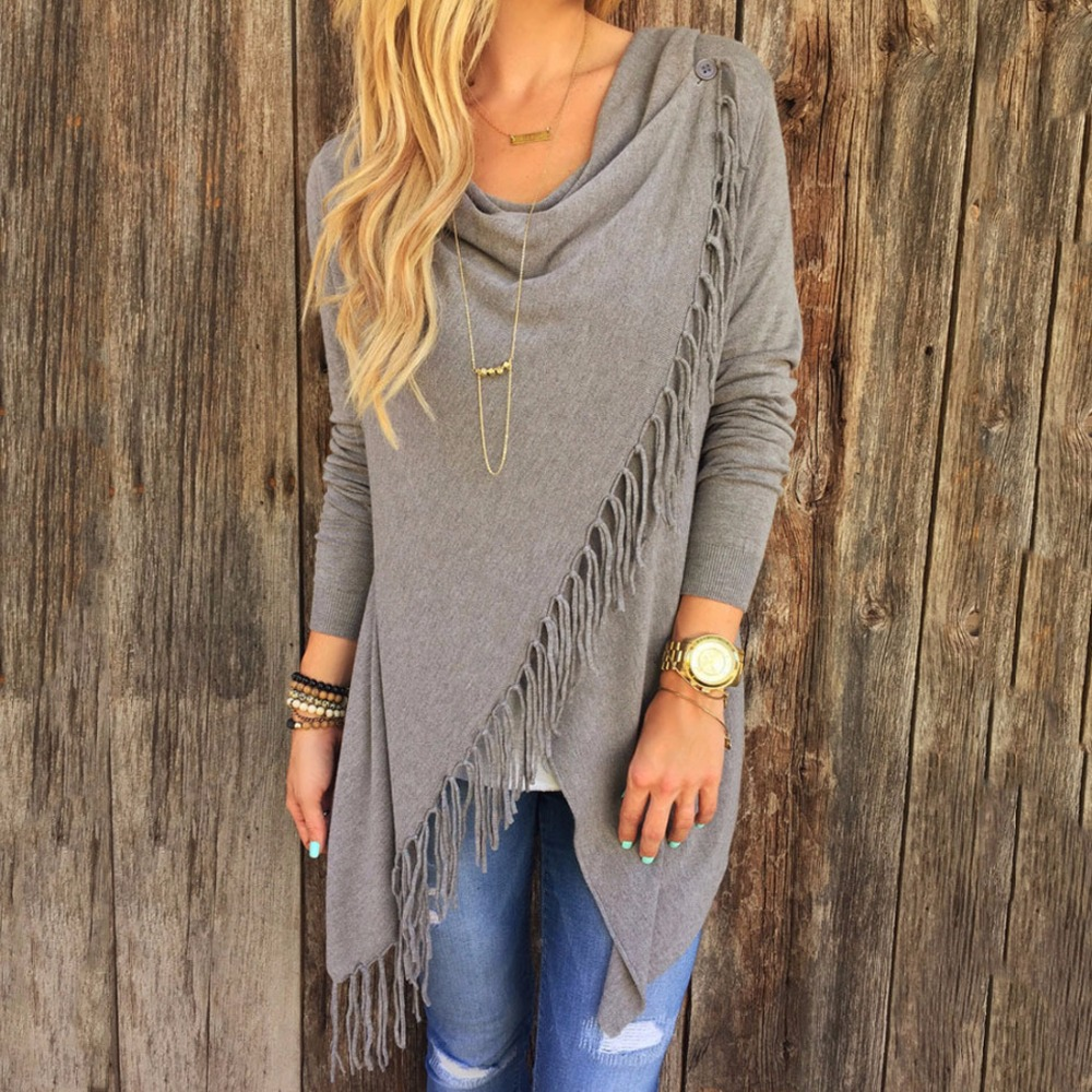2019 Spring Autumn Cardigans Tops Women Casual Loose Long Sleeve Irregular Hem Tassel Cardigan Cape Poncho Black Gray Plus Size