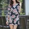 2016 Mulheres outono inverno casual tops & t camisa t Solto túnica de algodão de manga comprida plus size moda Impresso pullover grande grande