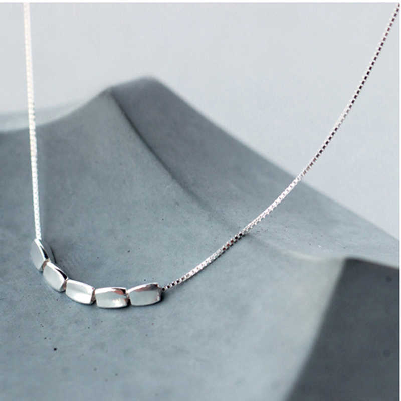 XIYANIKE The New Arrival 925 Sterling Silver Small Grain Simple Necklace Fashion Art Clavicle Necklace Silver AccessoriesVNS8325