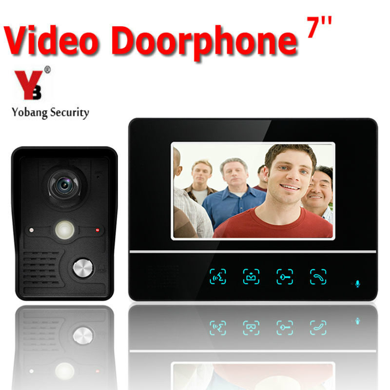 YobangSecurity 7 Inch Video Door Phone Video Doorbell Entry System Intercom Kit 1-camera 1-monitor Night Vision Security Camera stunning medium straight adduction side bang women s siv human hair wig