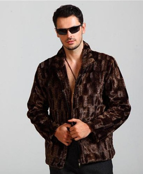 2019 Faux Imitation Stand Collar Jacket Mens Long Sleeve Fur For Male