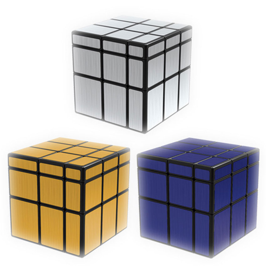 QiYi 3x3x3 Mirror Cube Block Professional Wiredrawing Silver Gold Bule Shiny Magic Cube Puzzle Speed Cubo Magico Educational Toy professional rubik cube speed magic cube 3x3x3 educational learning puzzle cube toy magic cubo magico