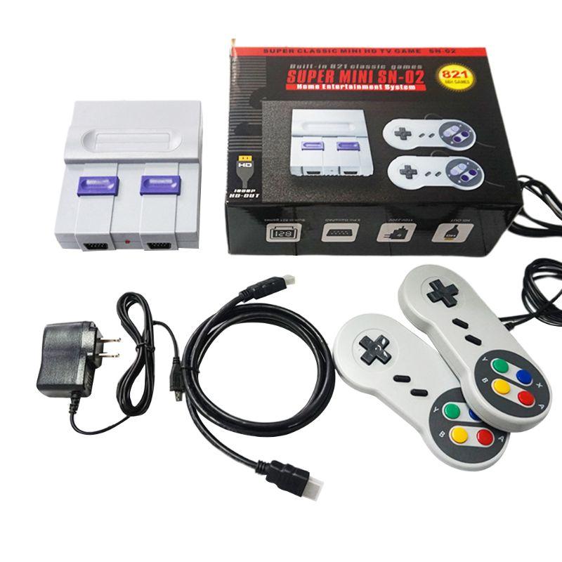 Super mini 8bit retro clássico console de jogos de vídeo jogador de jogo de tv built-in 821 jogos com gamepads duplos