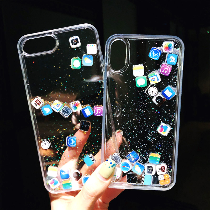 for iPhone 11 Pro Max Case Xs Max Xr X 10 10s 8 7 6 6s Plus SE 2020 Water Cover Cute For Apple Flowing Glitter Icons Clear|Fitted Cases| - AliExpress