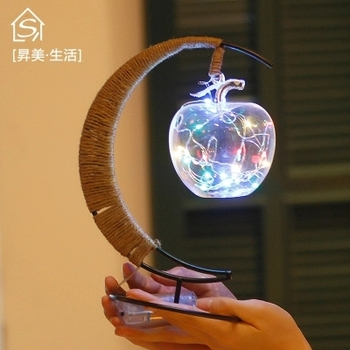 Birthday Christmas New Year's Day Gift Present Girls Children Bedroom Bedside Lamp Atmosphere Decorative LED Lights Apple Moon
