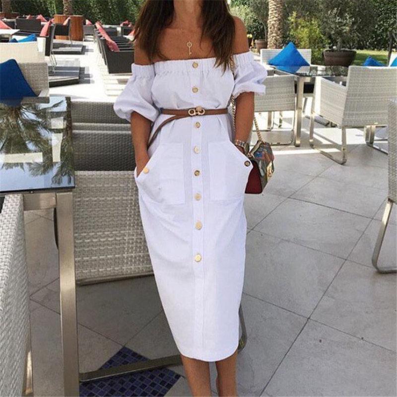 Сексуальное Белое летнее платье для женщин с открытыми плечами с коротким рукавом Миди Платья вечерние Клубные двойной карман бандо прямой...