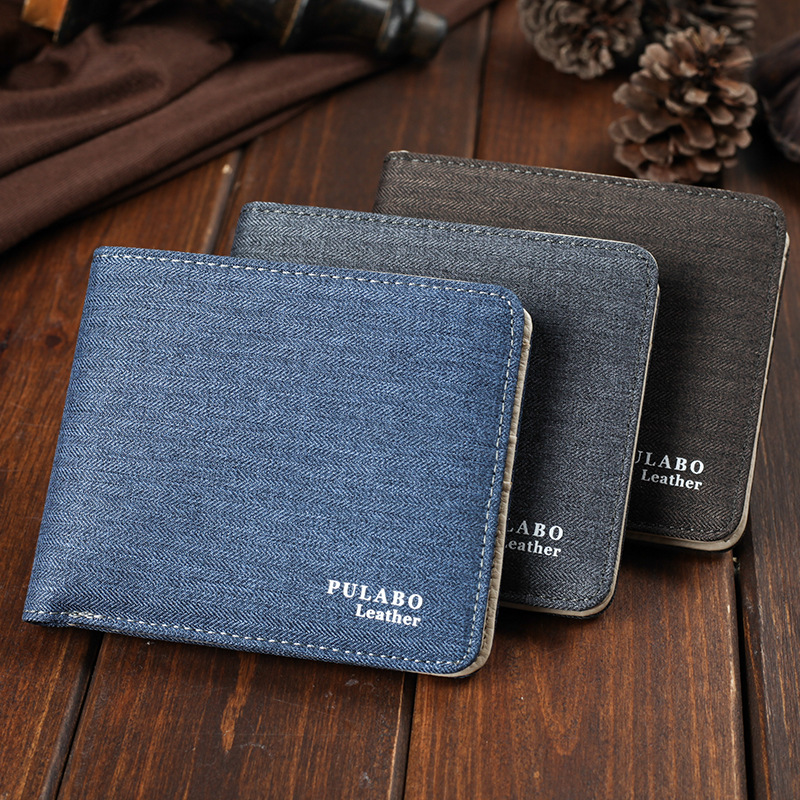 2017 Hot Sälj! Mens Short Denim Fabric Wallet Bästa Soft Canvas - Plånböcker - Foto 4