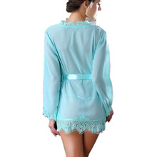 Women's Sexy lingerie bathrobe open file bandage perspective sexy costumes Exotic Apparel robe intimates Baby Dolls pajamas