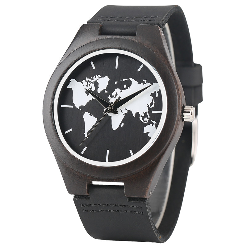 Black World Map Dial Wooden Watch Men Sport Quartz Creative Watches Women Genuine Leather Band 2017 New Fashion Sandalwood Clock faux leather strap world map face watch