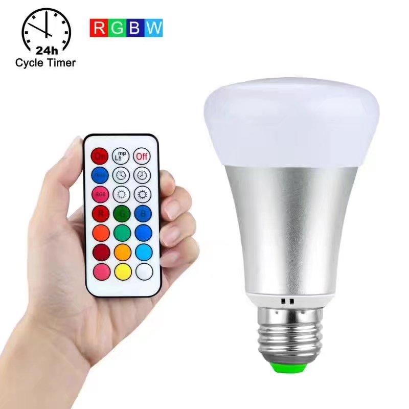 10 Вт E27 B22 RGBW светодиодные лампочки RGB белый Функция времени затемнения Алюминий светодиодные лампы с пультом ДУ диммер 110 В 220 В