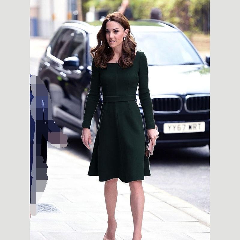 Princesse Kate Middleton robe 2019 automne printemps femme robe à manches longues o-cou robes élégantes travail robe bureau NP0562J