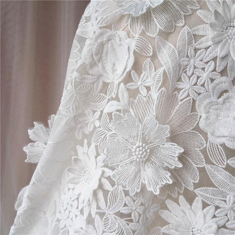 3-D lait dentelle de mariage lait fibre tissus pour robe matériel