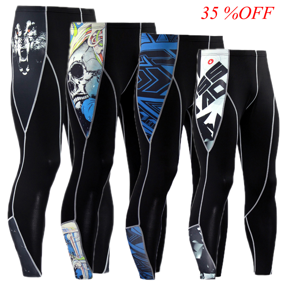 New Men Compression Pants 3D Print Wolf Skull Skinny Leggings Tights Fitness Joggers Elastic Bodybuilding Trousers MMA