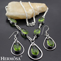 Hermosa Jewelry New Teardrop Style Aqua Olivine Necklace Earring Sets Best Christmas gift HF693