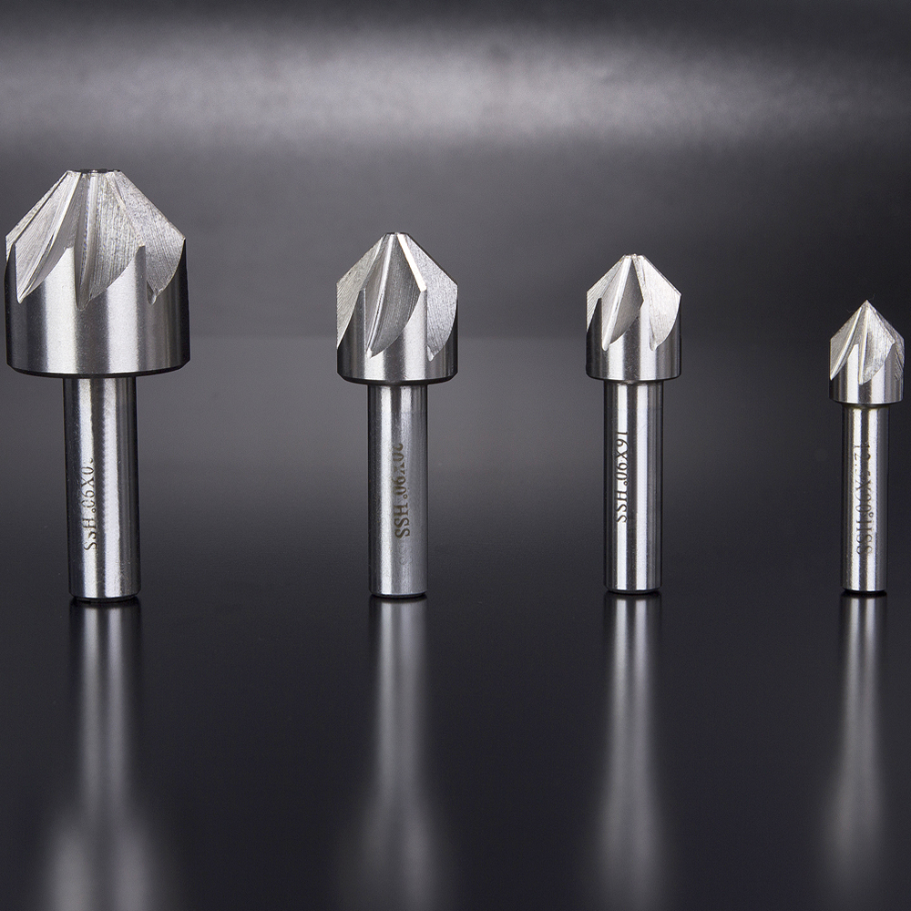 Hakkin 4Pcs 12.5/16/20/30mm HSS Countersink 6/8 Flute 90 Degree Chamfering End Mill Cutter Drill Bit Chamfer Deburring Tool