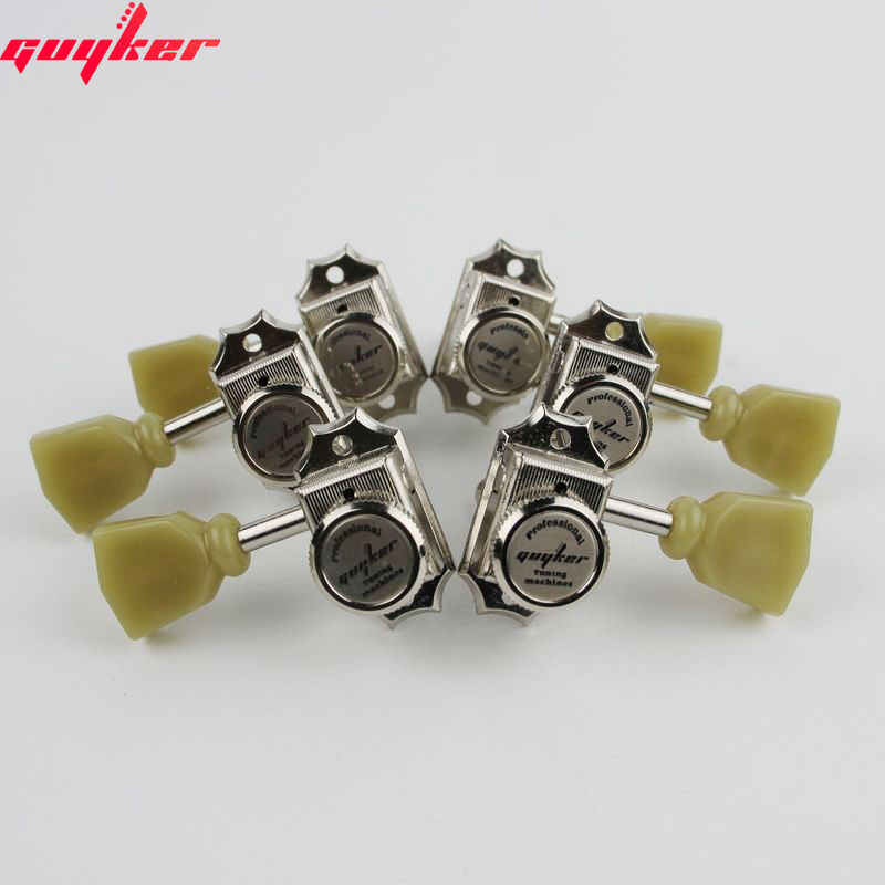 Image 2 - 1 Set GUYKER 3R3L Locking String Vintage Deluxe Electric Guitar Machine Heads Tuners Nickel Tuning PegsGuitar Parts & Accessories   -