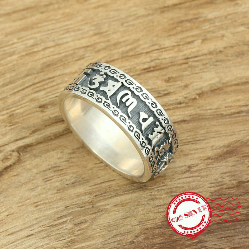 S925 sterling silver mens ring jewelry handmade retro classic style six words mantra style 2018 new gift to send lover