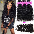 10A Brazilian Deep Wave With Closure 4Bundles With Closure Virgin Hair Bundle Deals 10A Brazilian Curly Virgin Hair With Closure