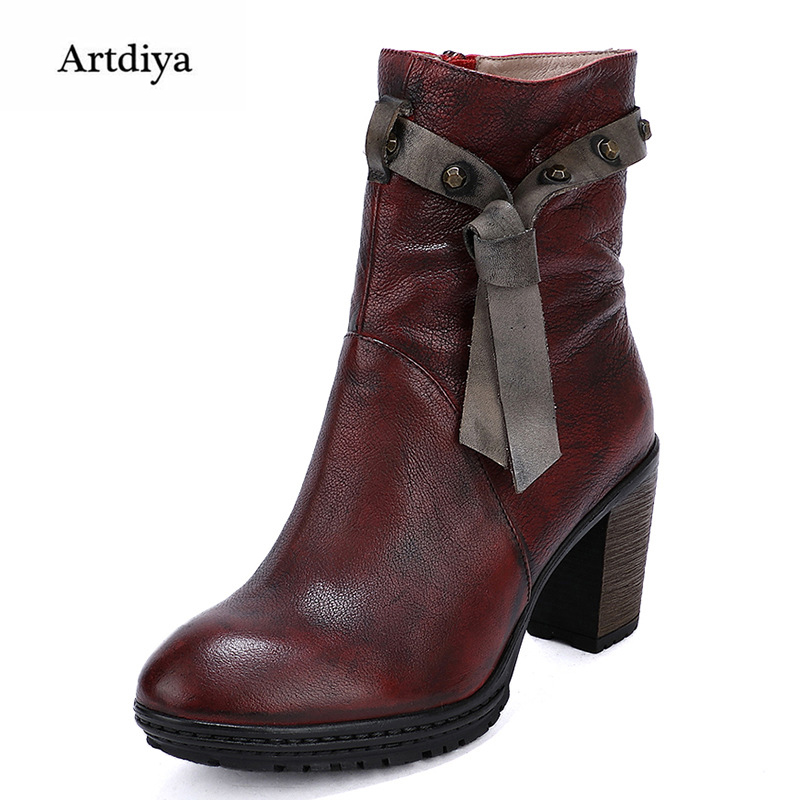 2017 autumn high heels Martin boots head layer cowhide round toe women boots casual and comfortable handmade ankle boots 1988-95