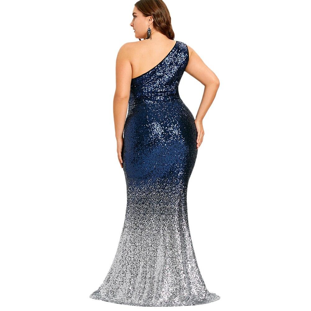 0d950a1afd AZULINA Plus Size One Shoulder Sleeveless Sequined Mermaid Dress Women Dress  Sexy Dresses 2018 Elegant Party Vestido De Fiesta