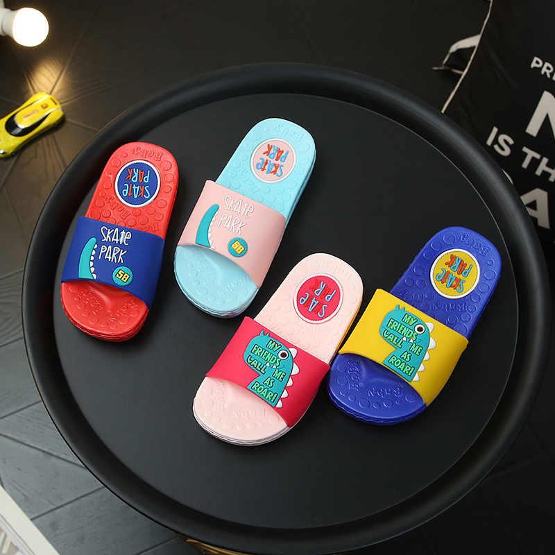 ילדי קיץ קריקטורה דינוזאור נעלי בני בנות מקורה מים נעלי ילדים פעוט כפכפים ילדים חיצוני נעלי בית