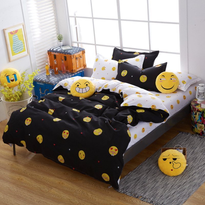 Smile FaceBlack Polyester bedding Sets Duvetcover Setwinter Flat bedsheet Pillowcase Queen king Bedlinen Bedcloths sj113