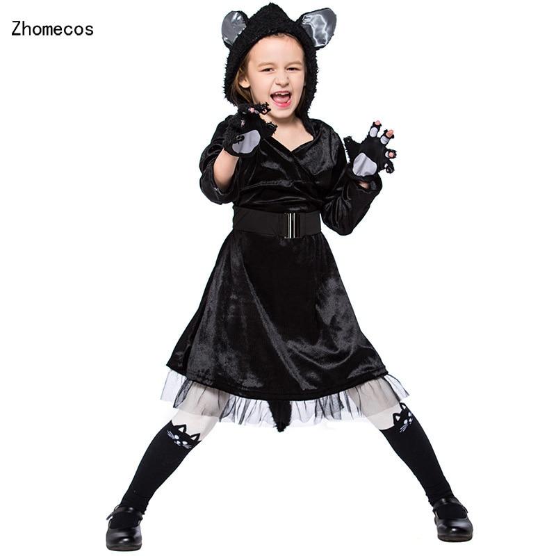 Aliexpress.com : Buy Kids Black Cat Hooded Dress Costumes ...